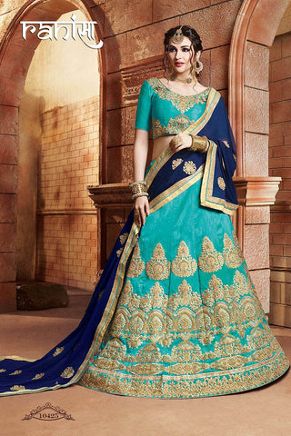 RUDRA FASHION-Sea Green Color Silk Unstitched Lehenga - 10425