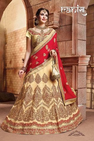 RUDRA FASHION-Beige Color Silk Unstitched Lehenga - 10426