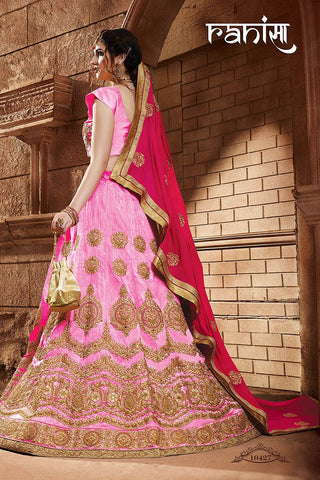 RUDRA FASHION-Pink Color Silk Unstitched Lehenga - 10427