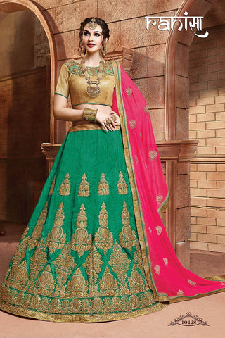 RUDRA FASHION-Green Color Silk Unstitched Lehenga - 10428