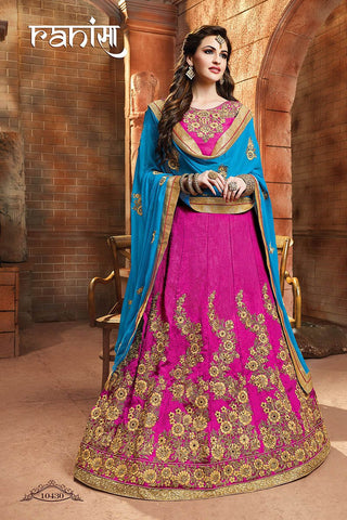 RUDRA FASHION-Pink Color Silk Unstitched Lehenga - 10430