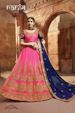 RUDRA FASHION-Pink Color Silk Unstitched Lehenga - 10432