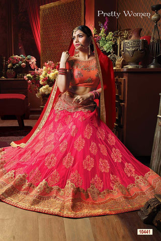 RUDRA FASHION-Pink Color Exclusive Net Jacquard Lehenga Choli  - 10441