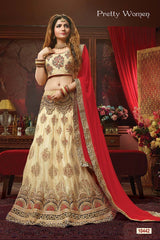 Cream Color Exclusive Net Jacquard  Lehenga Choli