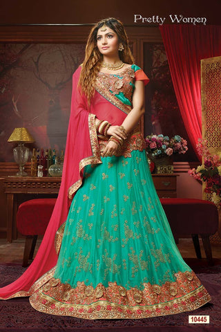 RUDRA FASHION-Sea Green Color Exclusive Net Jacquard Lehenga Choli  - 10445