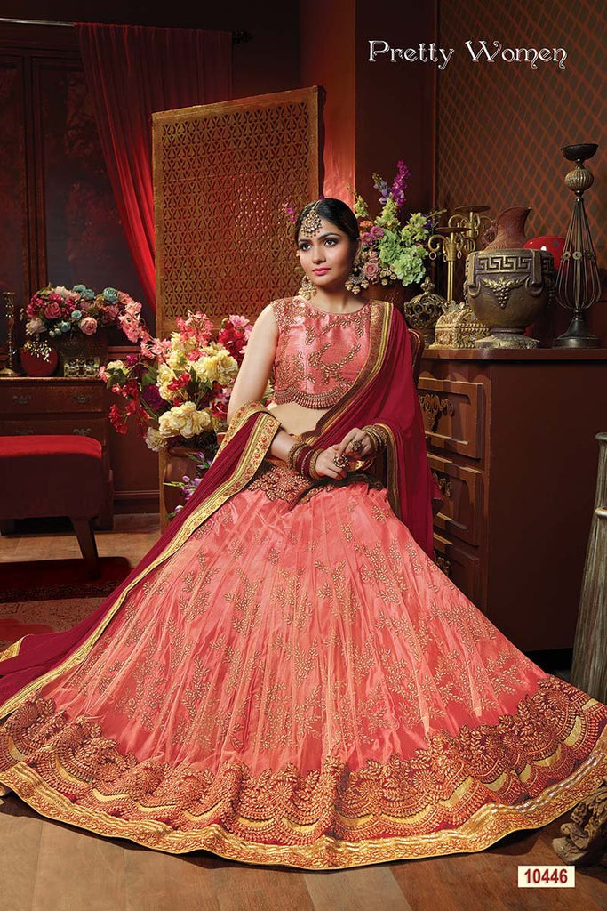 Peach Color Exclusive Net Jacquard Lehenga Choli
