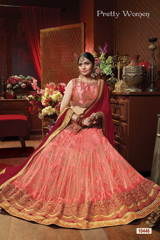 RUDRA FASHION-Peach Color Exclusive Net Jacquard Lehenga Choli  - 10446