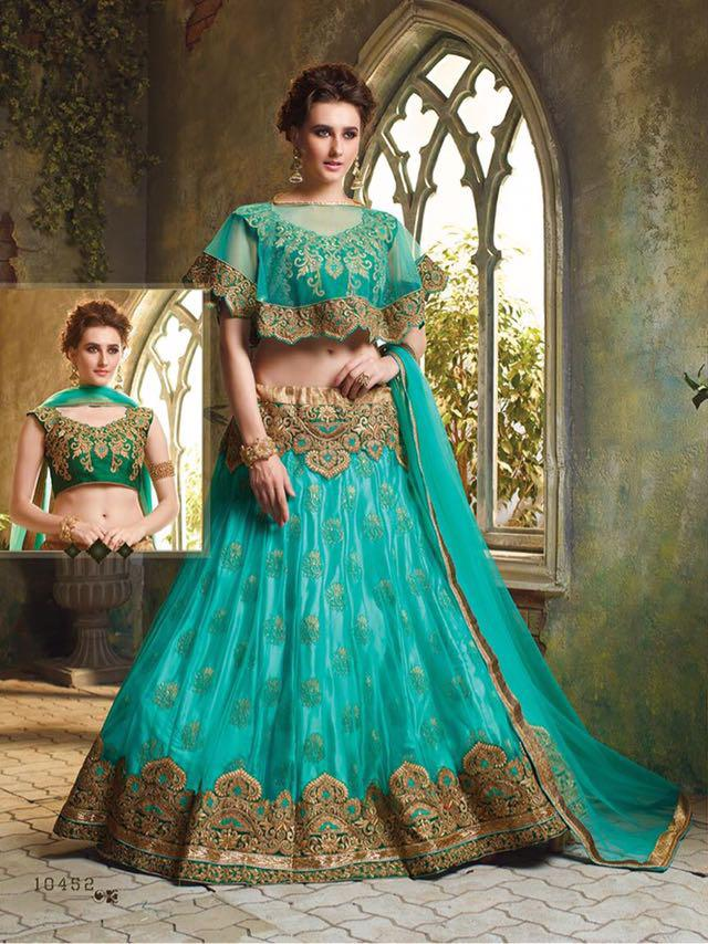 Light Green Color Net Unstitched Lehenga Choli