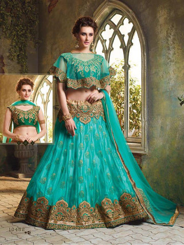 RUDRA FASHION-Tiffany Blue Color Net Unstitched Lehenga Choli - 10452
