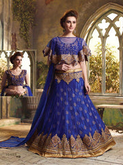 Blue Color Net Unstitched Lehenga Choli