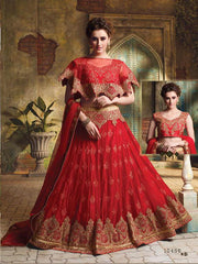 Red Color Net Unstitched Lehenga Choli