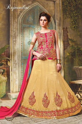 RUDRA FASHION-Pink and Beige Color Exclusive Silk Unstitched Lehenga  - 10467