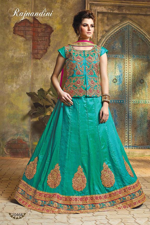 Green Color Exclusive Silk Unstitched Lehenga
