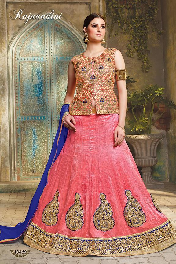 Pink Color Exclusive Silk Unstitched Lehenga