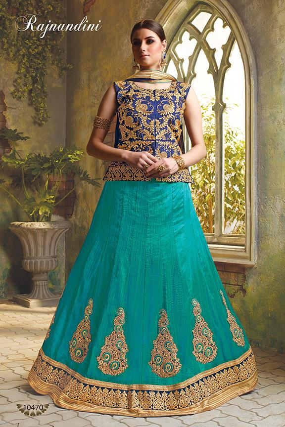 Blue and SkyBlue Color Exclusive Silk Unstitched Lehenga
