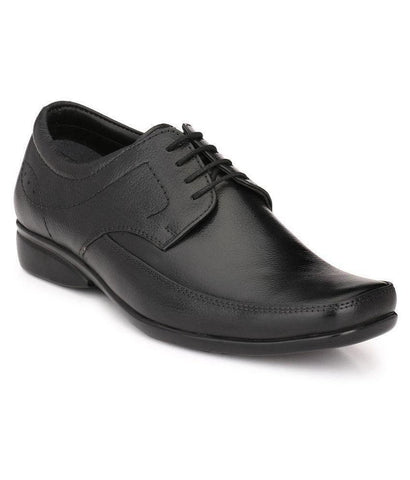 Black Color Leather Men's Formal Shoes - 104_BLACK