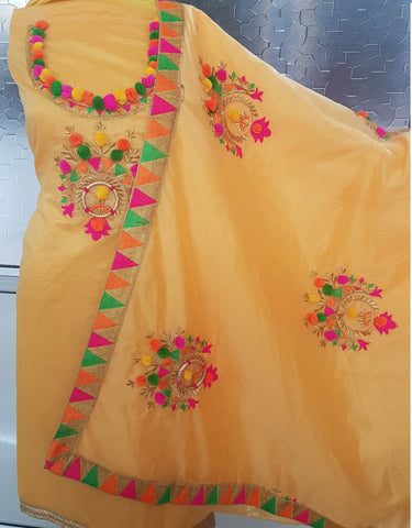 Yellow Color Chanderi Cotton Women's Un-Stitched Dress Material - 1053_Yellow