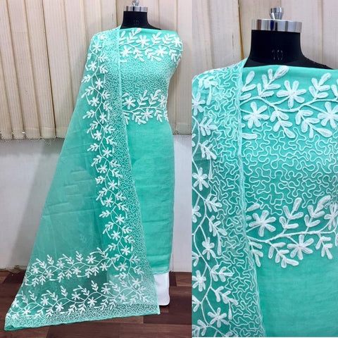 Green Color Chanderi Silk Women's Un-Stitched Dress Material - 1054_C_GREEN