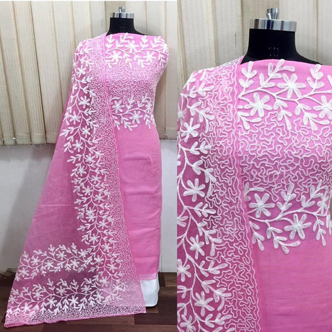 Pink Color Chanderi Silk Women's Un-Stitched Dress Material - 1054_PINK