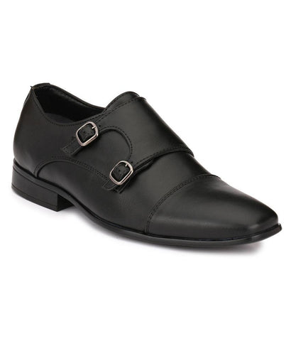 Black Color Leather Men's Formal Shoes - 105_BLACK