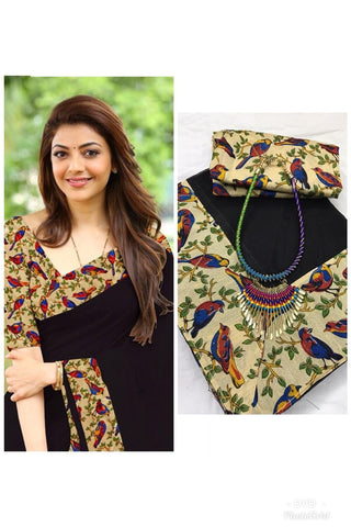 Black Color Chanderi Cotton Women's Saree with Blouse Piece and Necklace - 1065-G