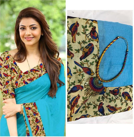 Sky Blue Color Chanderi Cotton Women's Saree with Blouse Piece and Necklace - 1065-H
