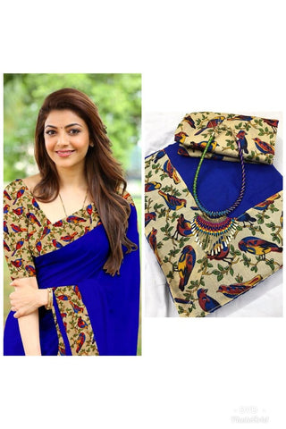 Blue Color Chanderi Cotton Women's Saree with Blouse Piece and Necklace - 1065-J