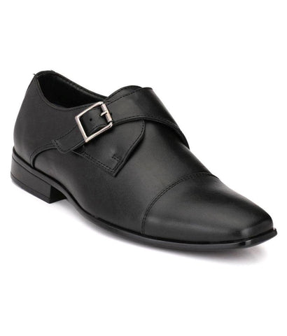 Black Color Leather Men's Formal Shoes - 106_BLACK