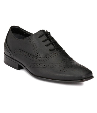 Black Color Leather Men's Formal Shoes - 107_BLACK