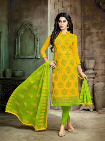 Yellow Color Lakda Jacquard UnStitched Salwar  - 10DRD102018