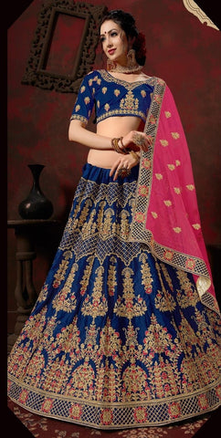 Blue and Pink Color Nylon Satin Women's Semi-Stitched Lehenga - 110-A