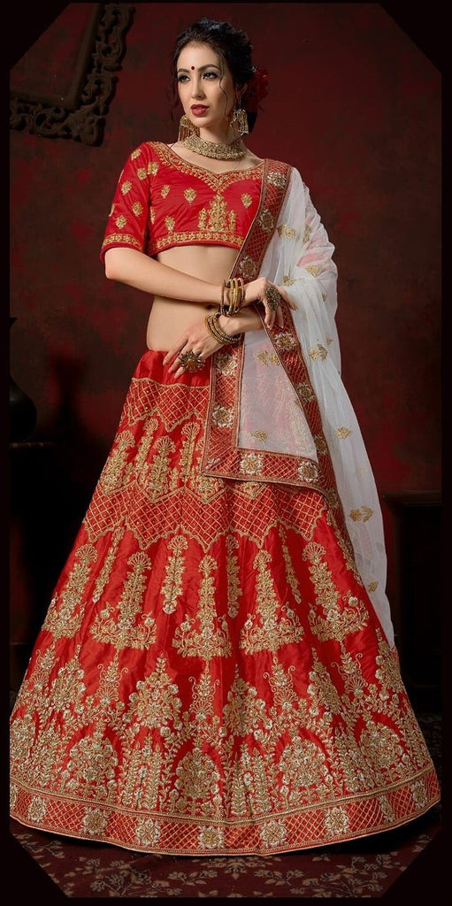 Buy Red and Grey Color Nylon Satin Women's Semi-Stitched Lehenga