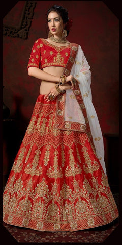 Red and Grey Color Nylon Satin Women's Semi-Stitched Lehenga - 110-B