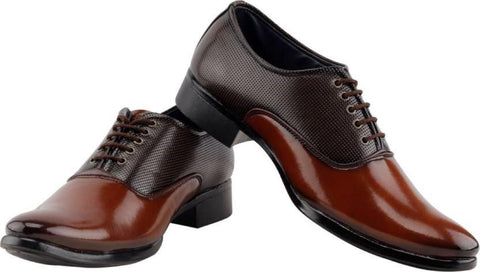 Brown And Tan Color Synthetic Leather Shoes - 110-DUALTONE