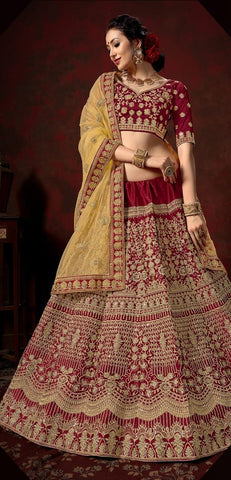 Maroon and Yellow Color Nylon Satin Women's Semi-Stitched Lehenga - 111-A
