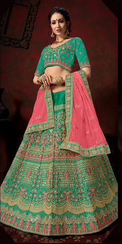 Green and Pink Color Nylon Satin Women's Semi-Stitched Lehenga - 111-B