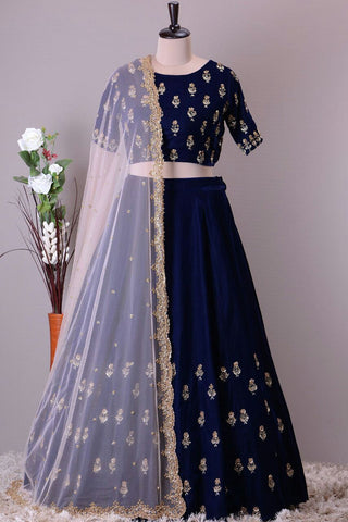 Blue Color Embroidered Women's Semi Stitched Lehenga - 1119_Blue_Lahenga
