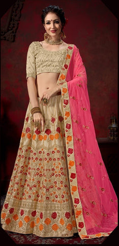 Beige and Pink Color Nylon Satin Women's Semi-Stitched Lehenga - 112-A