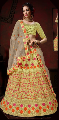 Yellow and Brown Color Nylon Satin Women's Semi-Stitched Lehenga - 112-B