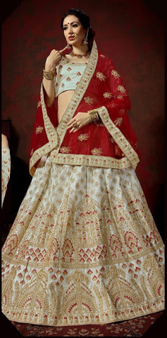 Grey and Red Color Nylon Satin Women's Semi-Stitched Lehenga - 113-A