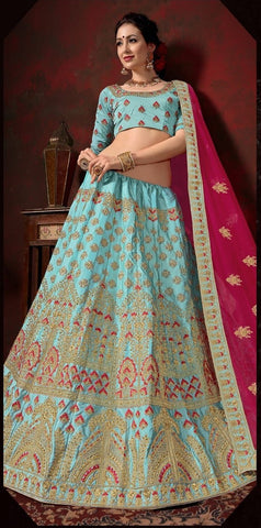 Sky Blue and Pink Color Nylon Satin Women's Semi-Stitched Lehenga - 113-B