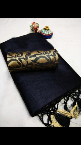 Black Color Chanderi Cotton Women's Saree with Blouse Piece - 1148-B