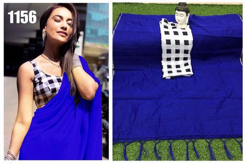 Royal Blue Color Chanderi Cotton Women's Saree with Blouse Piece - 1156-J