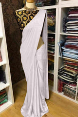 Buy White Color Satin Women's Saree with Blouse Piece