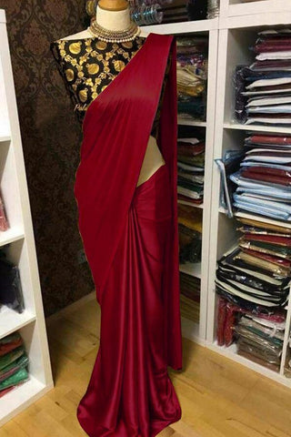 Maroon Color Satin Women's Saree with Blouse Piece - 1163-L