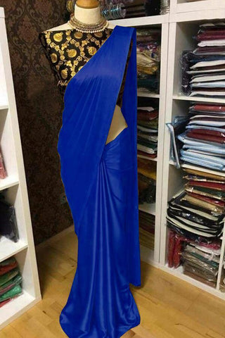 Royal Blue Color Satin Women's Saree with Blouse Piece - 1163-N