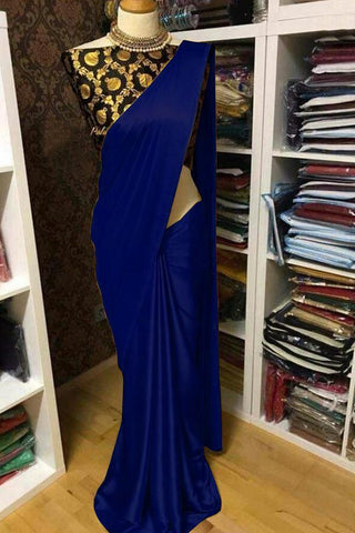 Navy Blue Color Satin Women's Saree with Blouse Piece - 1163-P