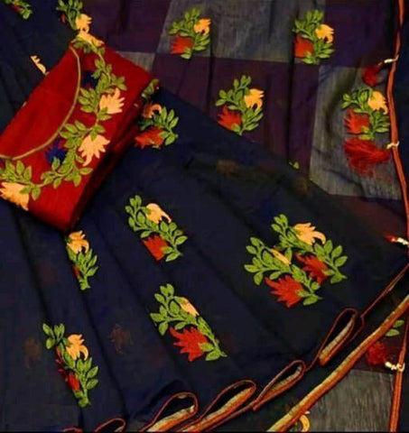 Navy Blue Color Chanderi Cotton Women's Saree with Blouse Piece - 1175-B