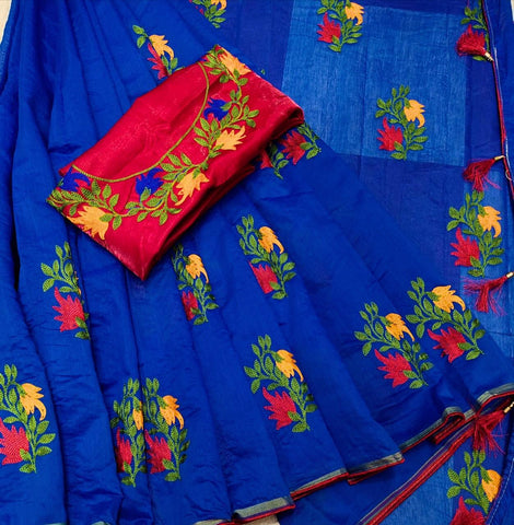 Royal Blue Color Chanderi Cotton Women's Saree with Blouse Piece - 1175-H
