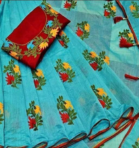 Sky Blue Color Chanderi Cotton Women's Saree with Blouse Piece - 1175-f